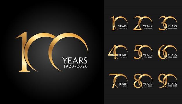 Conjunto de logotipo aniversario de oro.