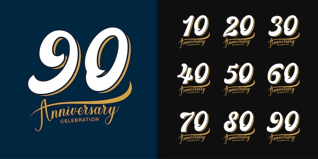 Conjunto de logotipo aniversario premium.