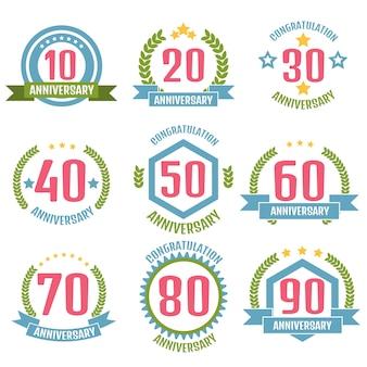 Conjunto de logotipo de aniversario