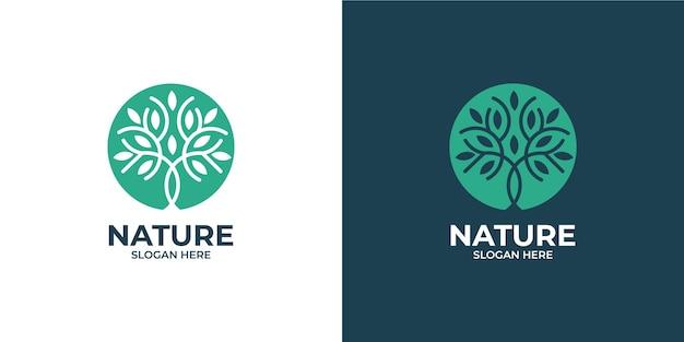 Conjunto de logotipo de árbol de naturaleza de estilo lineal