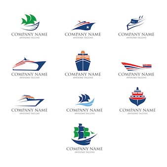 Conjunto de logotipo de barco
