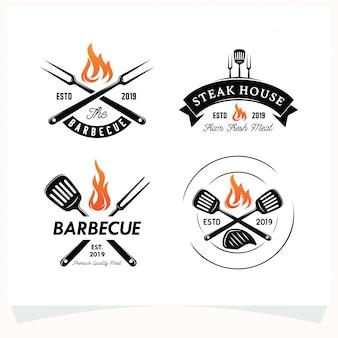 Conjunto de logotipo de bbq steak grill house