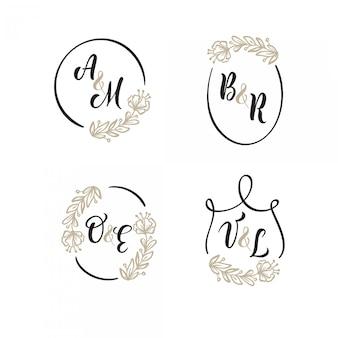 Conjunto de logotipo de la boda fondo de corona de oro. marcos florales fáciles de editar