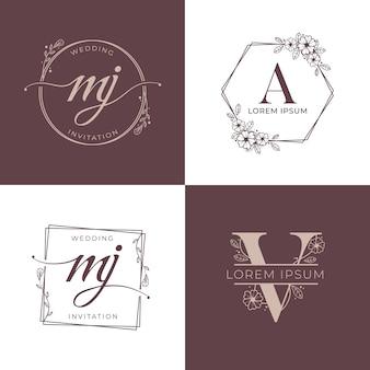 Conjunto de logotipo de boda de lujo decorativo