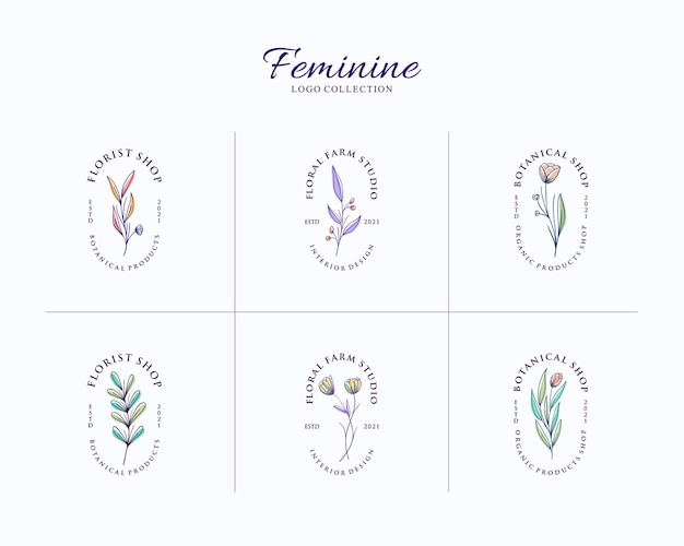 Conjunto de logotipo botánico femenino con plantilla de insignia