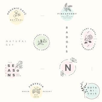 Conjunto de logotipo botánico.