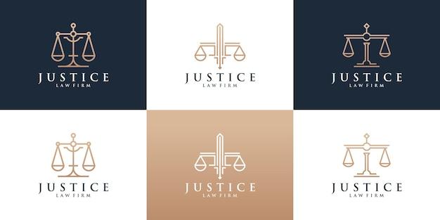 Conjunto de logotipo de bufete de abogados con color dorado.