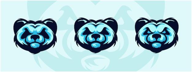 Conjunto de logotipo de cabeza de panda.