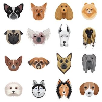 Conjunto de logotipo de cabezas de perro.