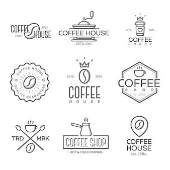 Conjunto de logotipo de cafetería aislado