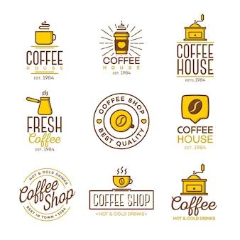 Conjunto de logotipo de cafetería aislado.