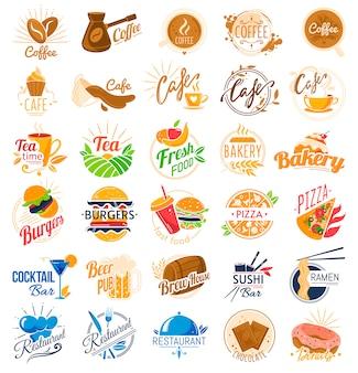 Conjunto de logotipo de cafetería de comida.