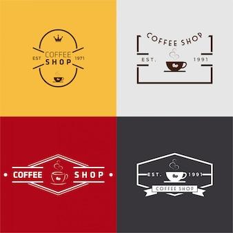 Conjunto de logotipo de cafetería