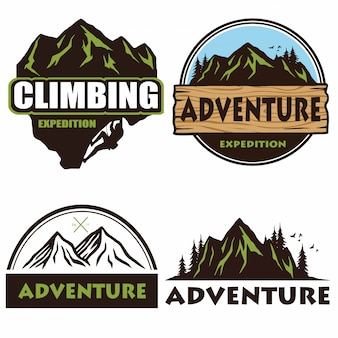 Conjunto de logotipo de camping