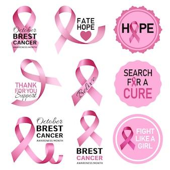 Conjunto de logotipo de cáncer de mama