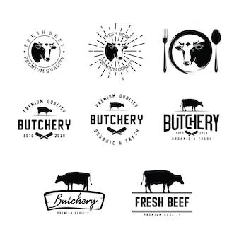 Conjunto de logotipo de carnicería
