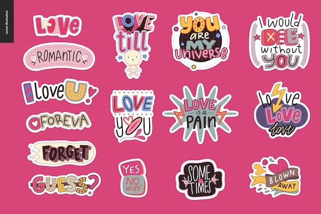 Conjunto de logotipo de carta de amor de niña contemporánea