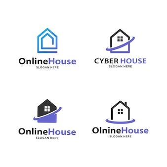 Conjunto de logotipo de casa inteligente