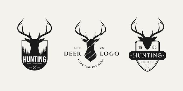 Conjunto de logotipo de caza vintage con diseño de ilustración de vector de logotipo de insignia de cabeza de ciervo