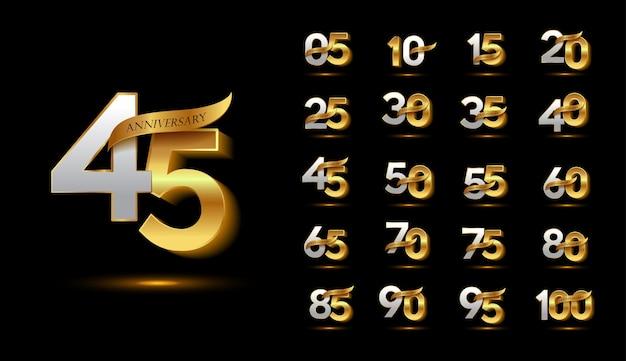 Conjunto de logotipo de celebración de aniversario de oro