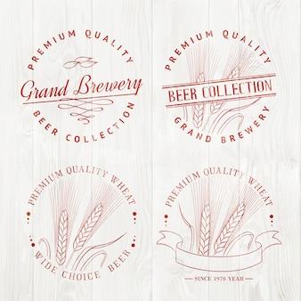 Conjunto de logotipo de cerveza