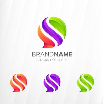 Conjunto de logotipo de chat chat burbuja color degradado