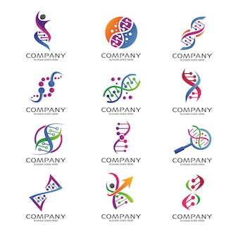 Conjunto de logotipo de ciencia e investigación de adn