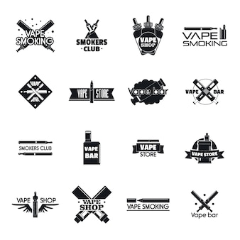 Conjunto de logotipo de cigarrillo electrónico mod