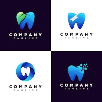 Conjunto de logotipo de clínica dental de colección, paquete de logotipo de diente