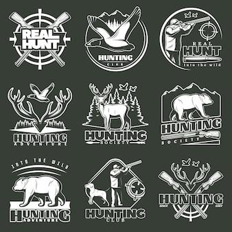 Conjunto de logotipo de club de caza