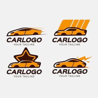 Conjunto de logotipo de coche de diseño plano