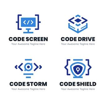 Conjunto de logotipo de código creativo