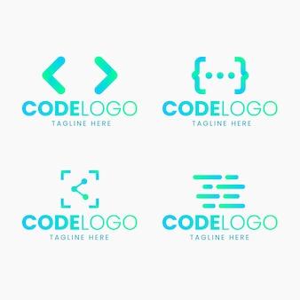 Conjunto de logotipo de código de diseño plano