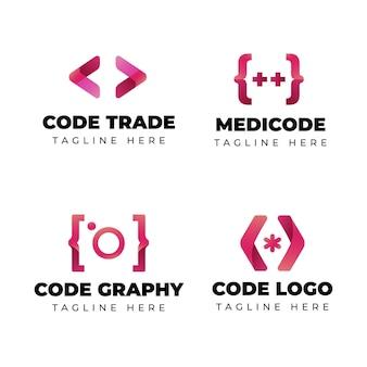 Conjunto de logotipo de código moderno