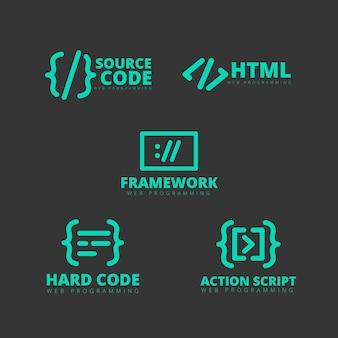 Conjunto de logotipo de código plano