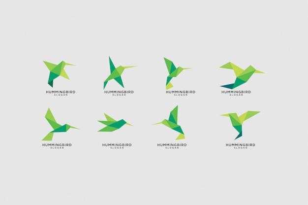 Conjunto de logotipo de colibrí de origami verde