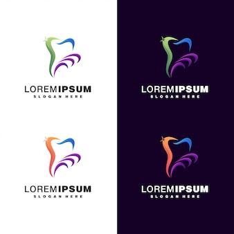 Conjunto de logotipo colorido dental