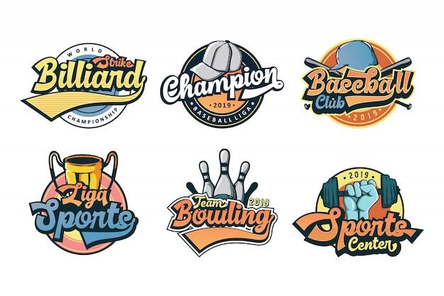 Conjunto de logotipo colorido deporte vintage