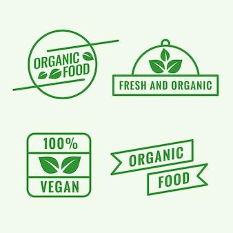 Conjunto de logotipo de comida orgánica.