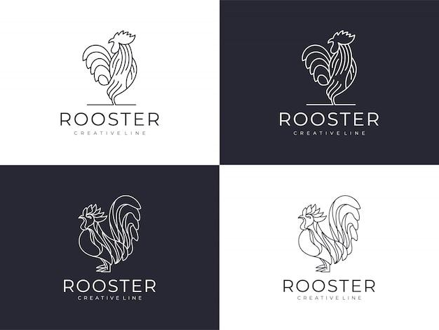 Conjunto de logotipo de contorno de gallo