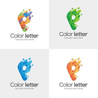 Conjunto de logotipo de contorno de letra p