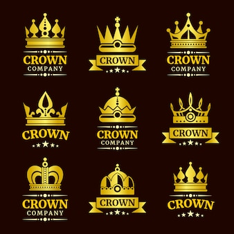Conjunto de logotipo de corona de lujo