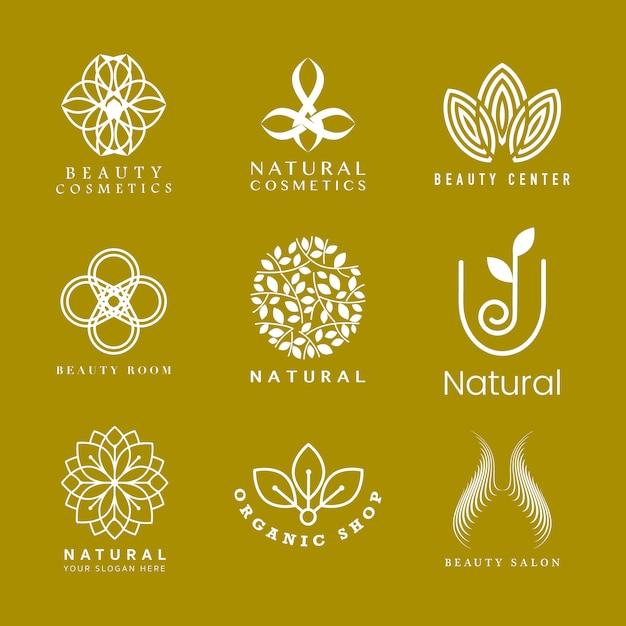 Conjunto de logotipo de cosmética natural.