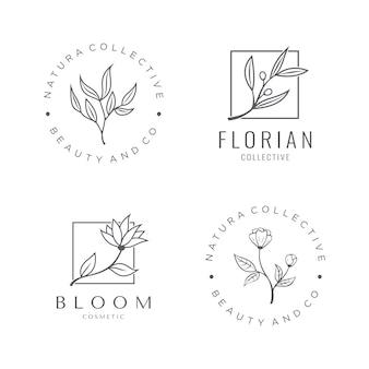Conjunto de logotipo cosmético natural con una hermosa flor