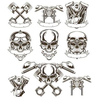 Conjunto de logotipo de cráneo de motocicleta