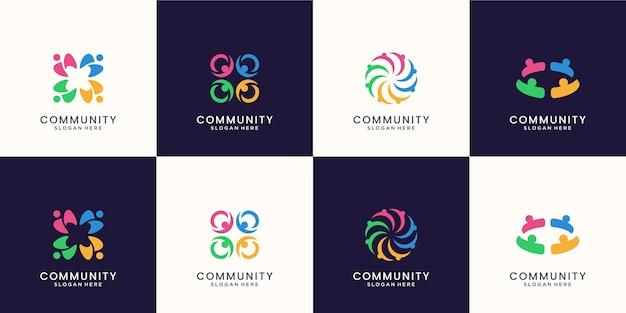 Conjunto de logotipo creativo colorido grupo social