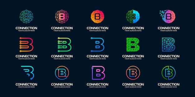 Conjunto de logotipo creativo letra b moderna tecnología digital. el logotipo se puede utilizar para tecnología, digital, conexión, compañía eléctrica.