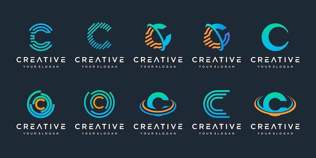 Conjunto de logotipo creativo letra c