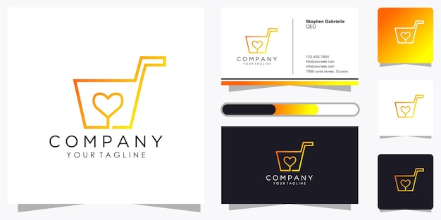 Conjunto de logotipo creativo de tienda en línea con estilo de arte de línea de degradado fresco y plantilla de diseño de tarjeta de visita