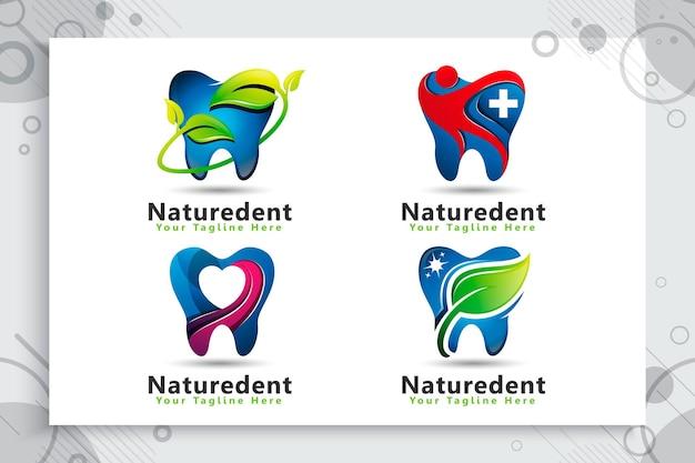 Conjunto de logotipo de cuidado dental